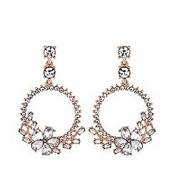 Mood - Rose gold plated clear mini detail diamante hoop drop earrings