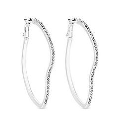 Mood - Silver Plated Clear Organic Pave Hoop Earrings