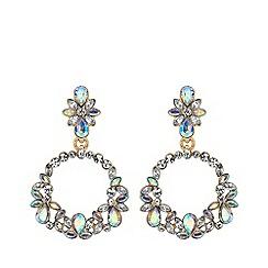 Mood - Silver plated clear floral hoop earrings
