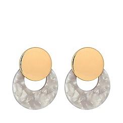Mood - Gold Plated Cream Polished Stud Earrings