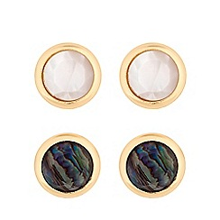 Mood - Gold plated cream 2 pack stud earrings
