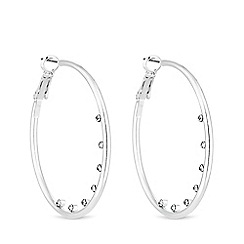 Mood - Silver plated clear stones inner hoop earrings