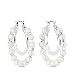 Mood - Silver Plated White Outer Pearl Hoop Earrings
