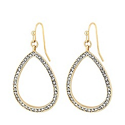 Mood - Gold Plated Clear Pave Open Drop Earrings