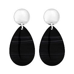 Mood - Silver Plated Black Polished Drop Earrings