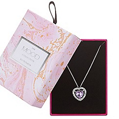 Mood - Purple crystal heart necklace in a gift box