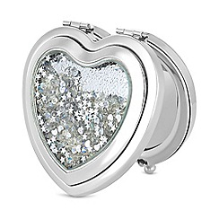 Mood - Silver crystal shaker heart compact mirror