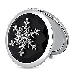 Mood - Silver crystal snowflake compact mirror