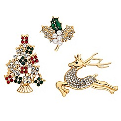 Mood Gold Crystal Christmas Brooch Set