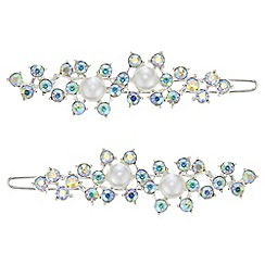 Mood - Pearl and crystal hair slide set