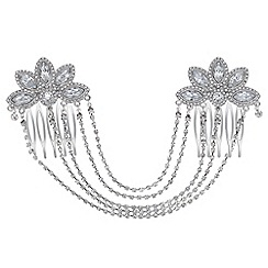 Mood - Crystal floral double hair comb