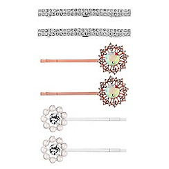 Mood - Rose gold and silver crystal hair slide set