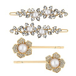 Mood - Gold crystal and pearl floral hair slide set