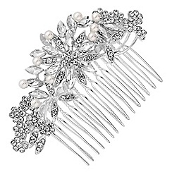 Mood - Silver crystal floral hair comb