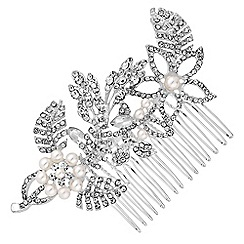 Mood - Silver crystal and pearl floral hair comb