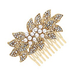 Mood - Gold pearl and crystal floral hair comb