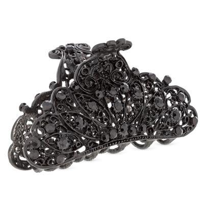 37484_MDHR064070: Black Crystal Filigree Hair Clamp