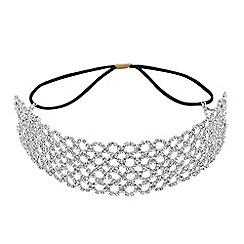 Mood - Silver diamante filigree stretch headband