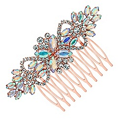 Mood - Rose gold floral crystal hair comb