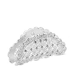Mood - Silver plated clear floral bulldog pin/clip hair