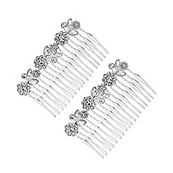 Mood - Silver Plated Clear 2 Pack Floral Hair Comb