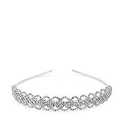 Mood - Silver plated clear diamante lattice aliceband hair