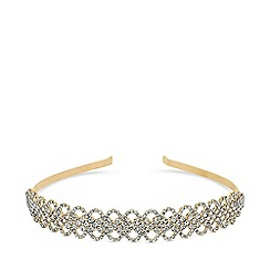 Mood - Gold plated clear diamante lattice aliceband hair
