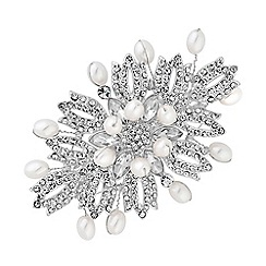 Mood - Silver plated white barette pin/clip hair