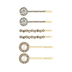 Mood - Gold Plated Clear 6 Pack Hair Slide