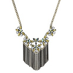 Mood - Metallic green stone fringed necklace
