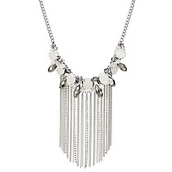 Mood - Silver opalesque beaded tassel necklace