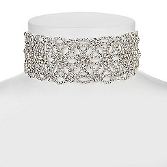 Mood - Silver floral crystal choker necklace