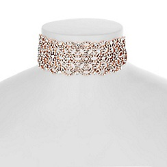 Mood - Rose gold floral diamante choker