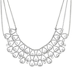 Mood - Silver crystal peardrop collar necklace