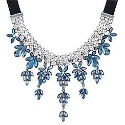Mood - Blue crystal floral droplet necklace