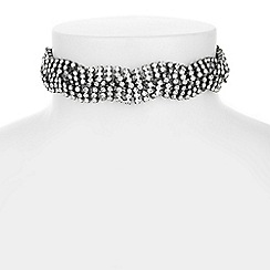 Mood - Diamante cross over choker necklace