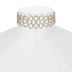 Mood - Diamante leaf choker necklace