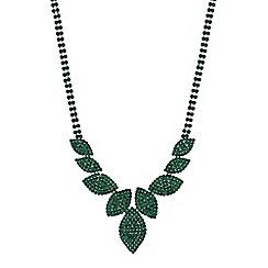 Mood - Diamante leaf necklace