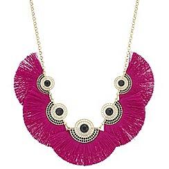 Mood - Pink fringe statement necklace
