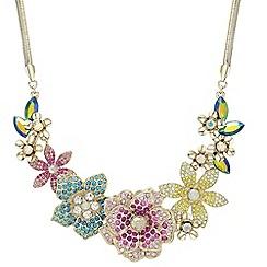 Mood - Multi colour pave flower necklace
