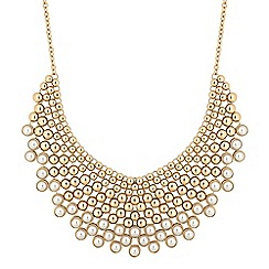 Mood - Gold pearl bib statement necklace