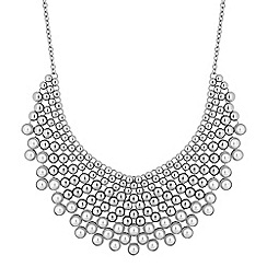 Mood - Silver pearl bib statement necklace