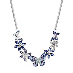 Mood - Silver blue crystal butterfly statement necklace