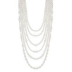 Mood - Cream pearl multi row statement necklace