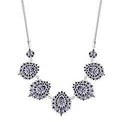 Mood - Silver purple crystal ornate statement necklace