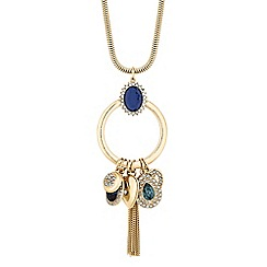 Mood - Gold blue crystal charm long necklace