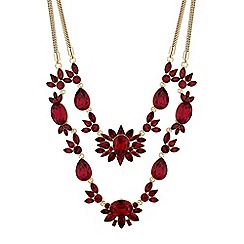 Mood - Red crystal cluster multi row necklace