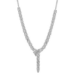 Mood - Silver crystal pave link lariat necklace