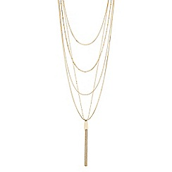 Mood - Gold multi row tassel necklace
