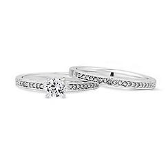 Mood - Silver crystal stacking ring set